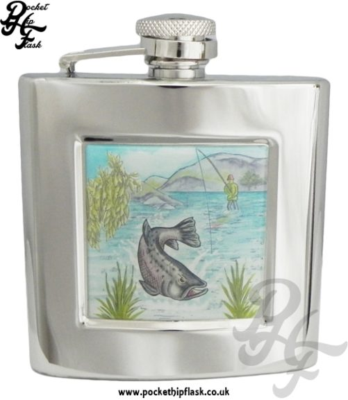 6oz Stainless Steel Hip Flask With Captive Top and Fishing Scene