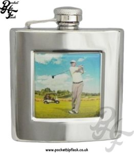 6oz Stainless Steel Hip Flask With Captive Top and Golfing Badge
