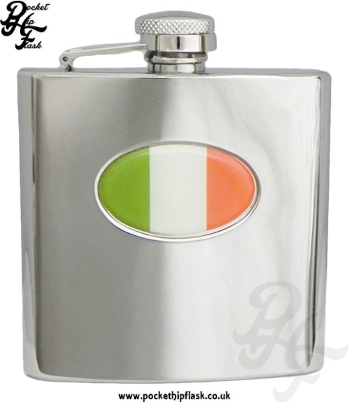 6oz Stainless Steel Hip Flask With Captive Top and Irish Badge