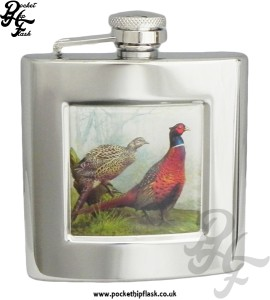 6oz Stainless Steel Hip Flask With Captive Top and Pheasants Badge