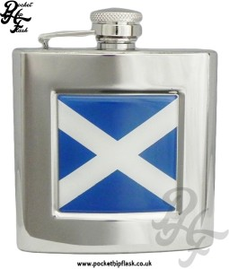6oz Stainless Steel Hip Flask With Captive Top and Scottish Badge