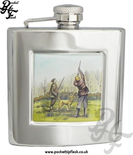 6oz Stainless Steel Hip Flask With Captive Top and Shooting Scene