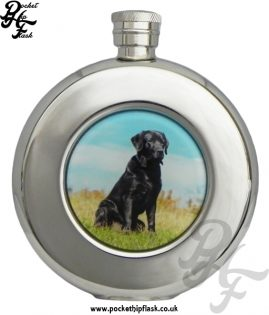 Round 4.5oz Stainless Steel Hip Flask With Black Dog