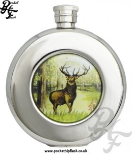 Round 4.5oz Stainless Steel Hip Flask With Stag