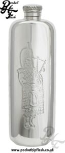 Scottish Piper 3oz Slimline Pewter Hip Flask