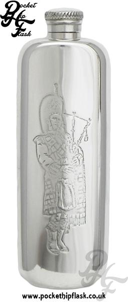 Scottish Piper 3oz Slimline Pewter Hip Flask
