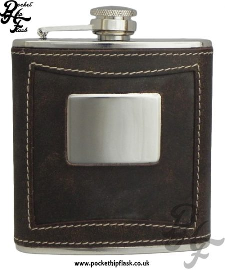 6oz Brown Leather Stainless Steel Hip Flask with Engraving Plate