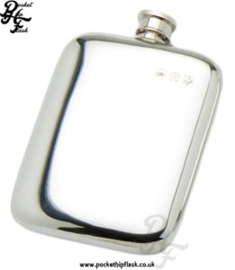 6oz Plain Pewter Cushion Hip Flask