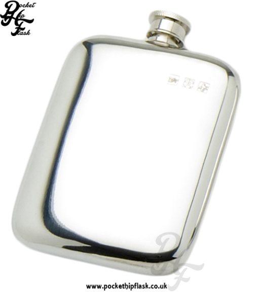 6oz Plain Pewter Cushion Hip Flask
