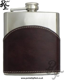 6oz Shiny Brown Leather Stainless Steel Hip Flask Front