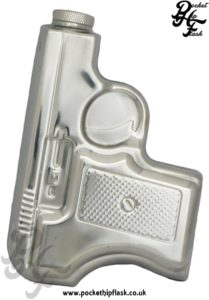 6oz Stainless Steel Gun Shaped Hip Flask