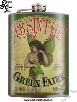 Absinthe Green Fairy 8oz Stainless Steel Hip Flask