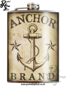 Anchor brand 8oz Stainless Steel Hip Flask