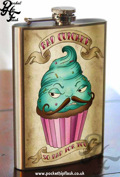 Bad Cupcake 8oz Stainless Steel Hip Flask