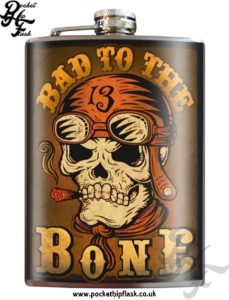 Bad to the Bone 8oz Stainless Steel Hip Flask