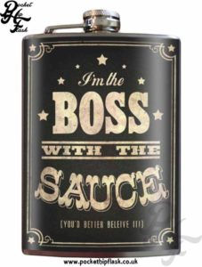 Boss with the Sauce 8oz Stainless Steel Hip Flask