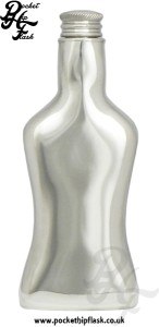 Bottle Shaped Novelty Pewter Hip Flask