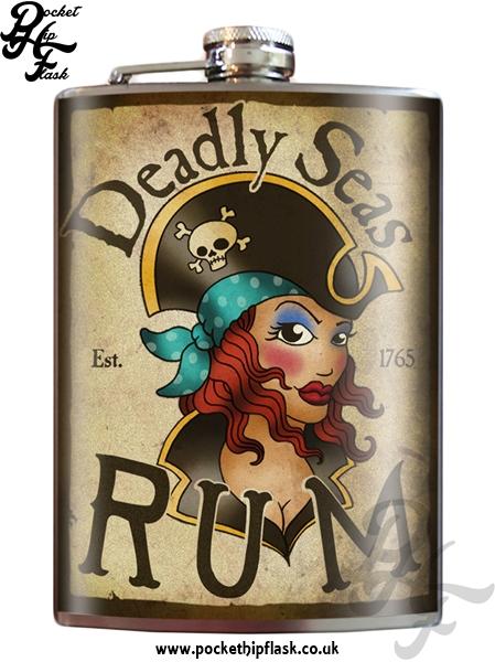 Deadly Seas Rum 8oz Stainless Steel Hip Flask