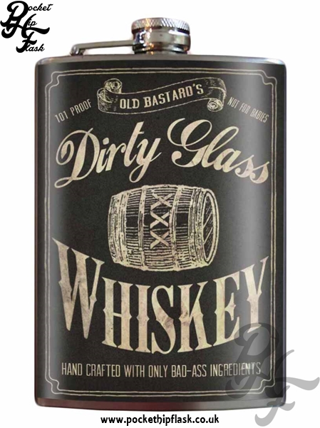 Dirty Glass Whiskey 8oz Stainless Steel Hip Flask