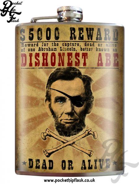 Dishonest Abe 8oz Stainless Steel Hip Flask
