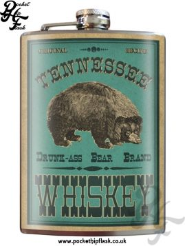 Drunk Ass Bear Tennessee Whiskey 8oz Stainless Steel Hip Flask