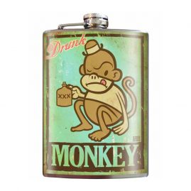Drunk-Monkey-8oz-Stainless-Steel-Hip-Flask