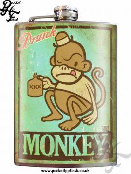 Drunk Monkey 8oz Stainless Steel Hip Flask