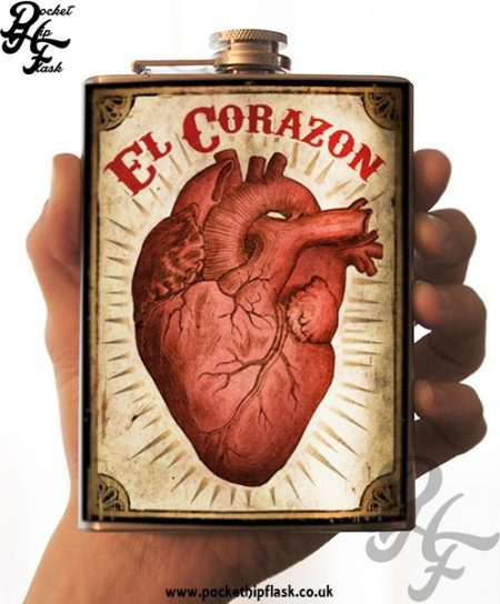 El Corazon, The Heart 8oz Stainless Steel Hip Flask