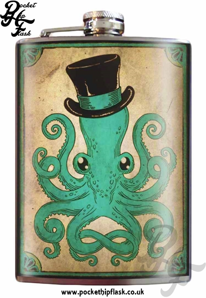 Gentleman Octopus 8oz Stainless Steel Hip Flask