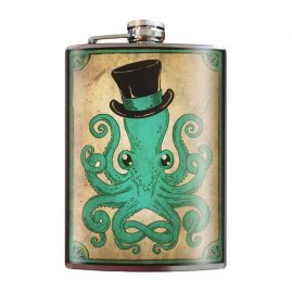 Gentleman-Octopus-8oz-Stainless-Steel-Hip-Flasks