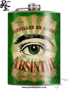 Green Absinthe Eye 8oz Stainless Steel Hip Flasks