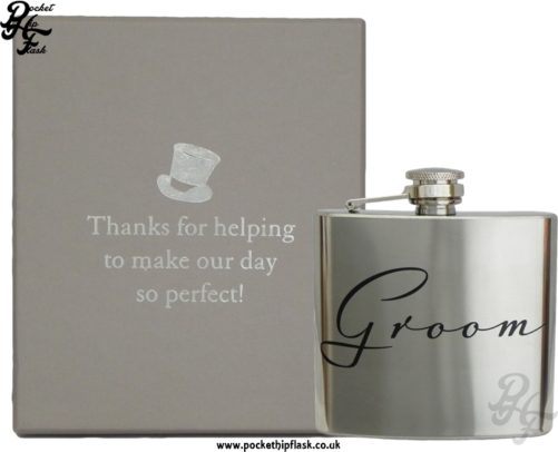 Groom 5oz Stainless Steel Hip Flask with Box