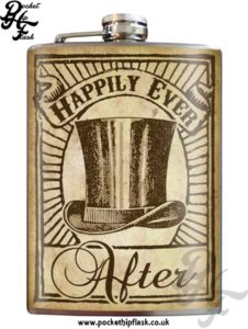 Hip Flask Happiness - Happily Ever Top Hat 8oz Stainless Steel Hip Flask
