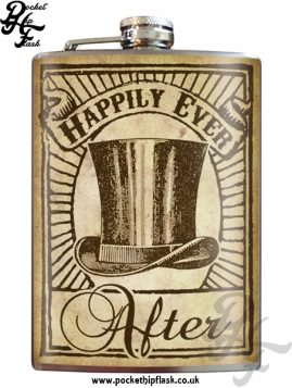 Happily Ever Top Hat 8oz Stainless Steel Hip Flask