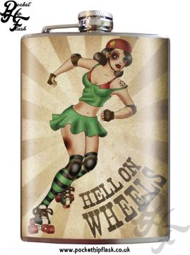Hell on Wheels 8oz Stainless Steel Hip Flask