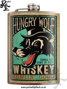 Hungry Wolf Whiskey 8oz Stainless Steel Hip Flask