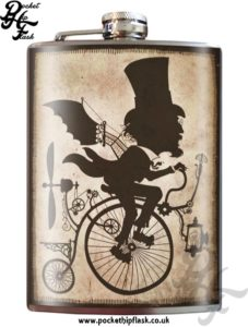 Inventor Steampunk 8oz Stainless Steel Hip Flask