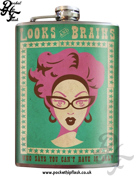 Looks Brains 8oz Stainless Steel Hip Flask