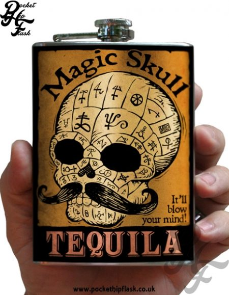 Magic Skull Tequila 8oz Stainless Steel Hip Flask