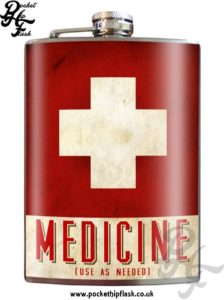 Medicine Use as Needed 8oz Stainless Steel Hip Flask