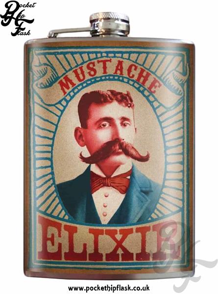 Mustache Elixir 8oz Stainless Steel Hip Flask