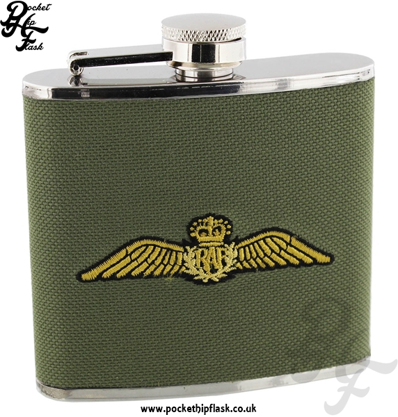 Official Royal Air Force Canvas Coated Stainless Steel 5oz Hip Flask