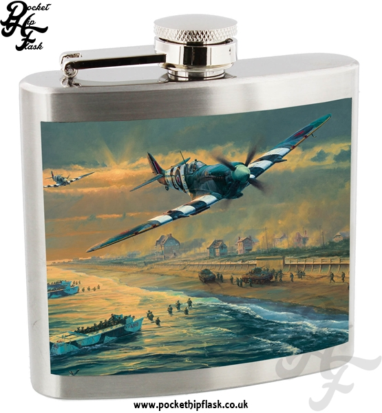 Official Royal Air Force Spitfire Landing Day Stainless Steel 5oz Hip Flask