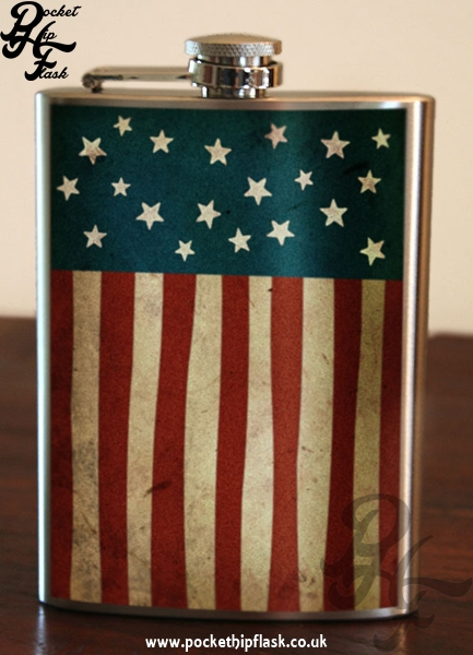 Old Glory American Flag 8oz Stainless Steel Hip Flask 2