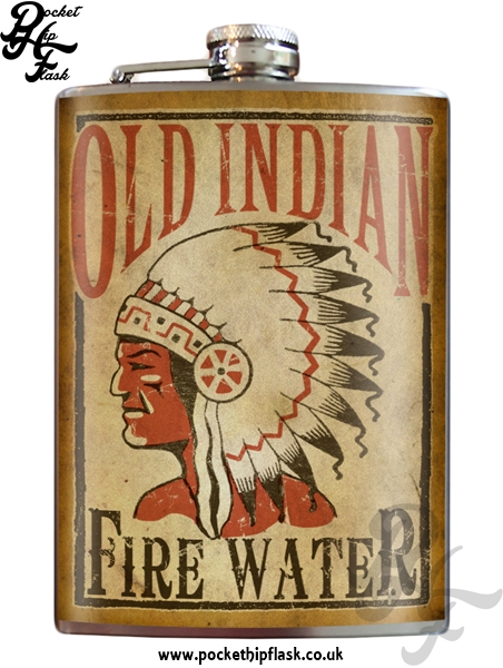 Old Indian Fire Water 8oz Stainless Steel Hip Flask