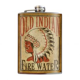 Old-Indian-Fire-Water-8oz-Stainless-Steel-Hip-Flasks