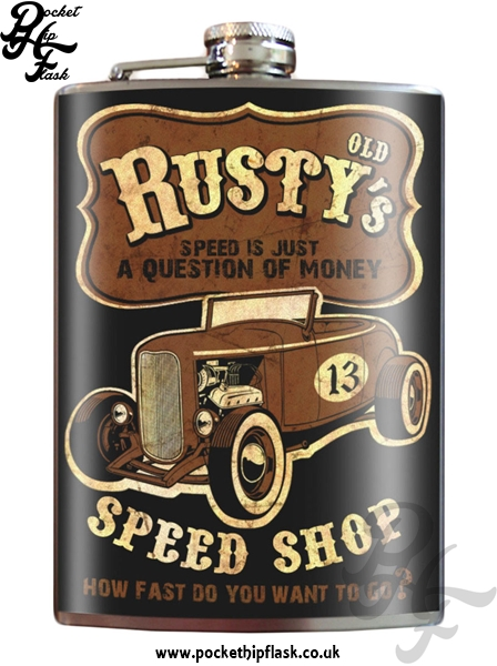 Old Rustys Speed Shop 8oz Stainless Steel Hip Flask