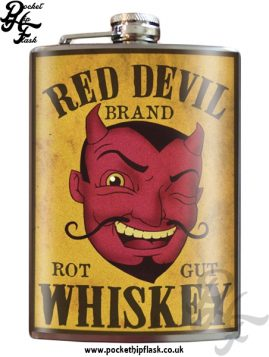 Red Devil Rot Gut Whiskey 8oz Stainless Steel Hip Flask