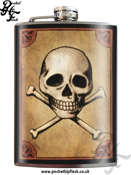 Skull Bones 8oz Stainless Steel Hip Flask