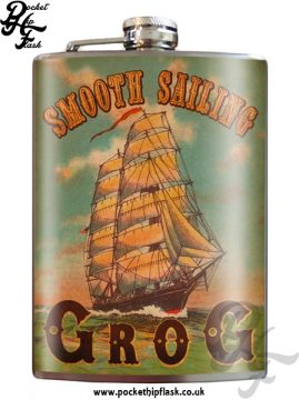 Smooth Sailing Grog 8oz Stainless Steel Hip Flask